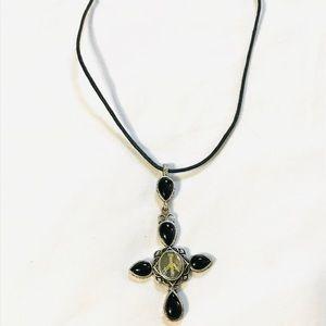 Silver color cross necklace